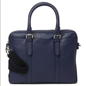 Cole Haan Smooth Leather Attaché Case Navy